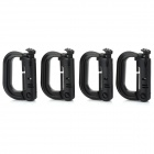 D-Ring Locking Carabiner - Black (4 PCS)