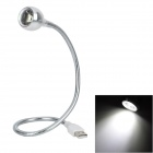 Flexible USB 90LM White 1-LED Light Lamp for Laptop Notebook - Silver