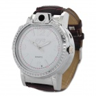 2-in-1 PU Leather Quartz Wrist Watch w/ Butane Lighter - Silver + Brown (1 x 377)