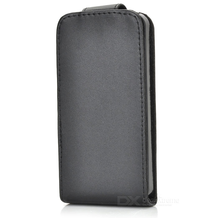 Protective PU Leather Top Flip Case for Iphone 5 - Black