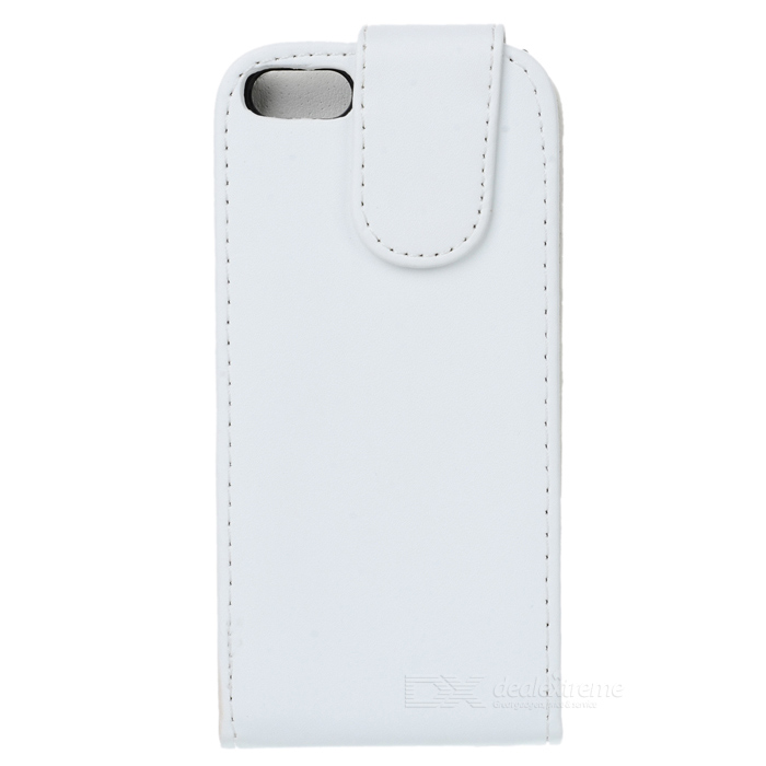 Protective PU Leather Top Flip Case for Iphone 5 - White