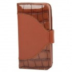 Protective Flip Cover PU Leather Case for Iphone 5 - Brown