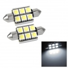 Festoon 36mm 2W 140lm 6-SMD 5050 LED White Light Decode Car Tail / Reading / Door Lamps (2 PCS)