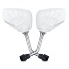 Skeletal Hand Style Backup Rearview Mirrors for Motorcycle - White (Pair)