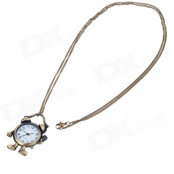 Vintage Alarm Clock Shape Digital Quartz Necklace Watch - Bronze 4 design bronze vintage quartz pocket watch free mason sword art online gear necklace pendant chain womens mens gifts p1123