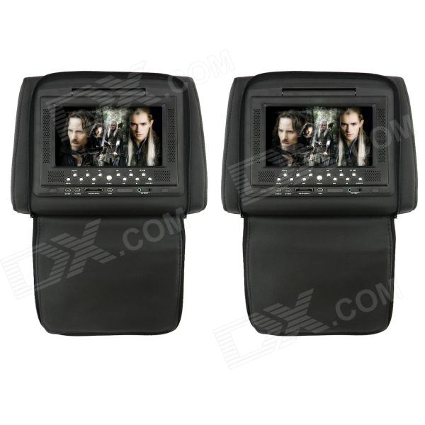 7 LCD Screen Car Headrest DVD Media Player with FM / AV-Out / SD / Game - Black (DC 12V / 2 PCS) car pillow zipper cover 2x 9 hd touch screen car headrest dvd player with 32 bit game usb sd ir fm transmitter no ir headphones