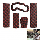 5-in-1 Car Handbrake + Gear Shift + Seat Belt + Rearview Mirror PU Leather Cover Set - Black + Red
