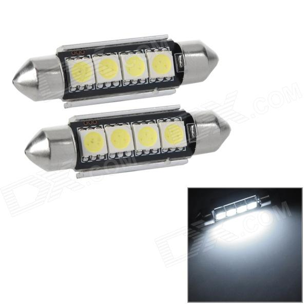 Festoon 41mm 2W 100lm 4-SMD 5050 LED White Light Decode Car Tail / Reading / Door Lamps (2 PCS)