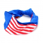 Retro Stripe Pattern Cotton Hair Band - Red + White + Blue