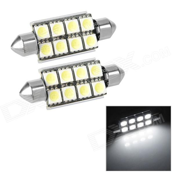 Festoon 41mm 2W 190lm 8-SMD 5050 LED White Light Decode Car Tail / Reading / Door Lamps (2 PCS)