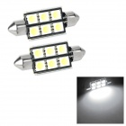 Festoon 39mm 2W 140lm 6-SMD 5050 LED White Light Decode Car Tail / Reading / Door Lamps (2 PCS)