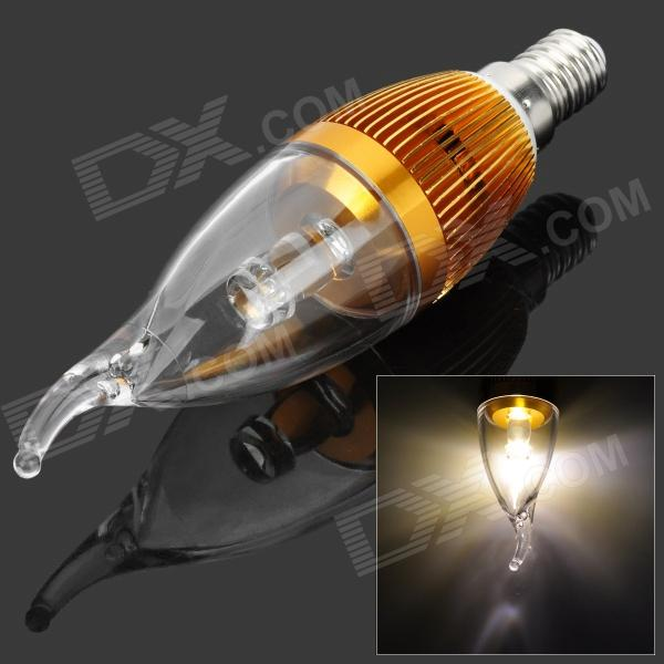 Candle Style E14 3W 3500K 210lm 1-LED Warm White Light Bulb - Golden (AC 85~245V) - DXE14<br>Material: Aluminum - Color: Golden - Quantity: 1 - Total emitters: 1 - Power: 3W - Color BIN: Warm white - Rate voltage: 85~245V - Luminous flux: 210lm - Color temperature: 2700~3500K - Connector type: E14 - Great for home lighting commercial lighting etc. - Packing list: - 1 x Bulb<br>