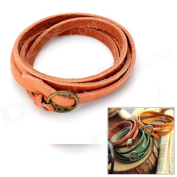 Genuine Cowhide Leather 2-in-1 Wristband Bracelet + Waistband - Brown (100cm) danjue genuine leather men wallets long coin purses big capacity card holder cowhide day clutch phone money bag