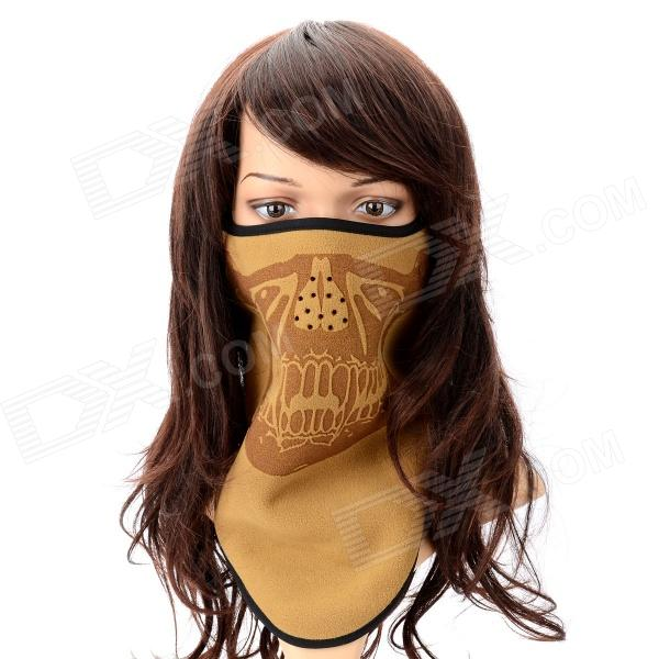 Skull Pattern Man's Half Face Warm Fleece Mouth Mask w/ Velcro - Earth + Black tactical skull face mask military field us active duty m50 gas mask cs field skull mask for hunting paintball