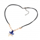 Crystal Maple Leaf Pendant Necklace Mixed Jewelry Necklace - Sapphire Blue