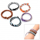 Stylish Genuine Cowhide Leather Weave Wristbands Bracelets - Multi-Color (5 PCS)