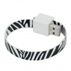 Bracelet Style Micro USB Male to USB Male Data Charging Flat Cable - Black + White (18cm)