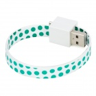 Bracelet Style Micro USB Male to USB Male Data Charging Flat Cable - Green + White (18cm)
