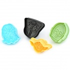 Extraterrestrial Pattern 3D Pie Crust Cookie Cutter Set - Black + Yellow + More (4 PCS)
