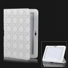 Checked Pattern Protective PU Leather Case for Samsung Galaxy Tab 2 10.1 P5100 - White