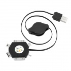 Retractable 6-in-1 USB Charging Cable w / iPhone / Nokia / Mini & Micro USB Adapter - Schwarz