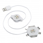 Multi Connectors 6-in-1 Retractable USB Charging Cable - White