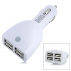 Car Cigarette Powered Charger w/ 4 USB Output for Cell Phone / Table PC + More - White