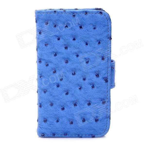 Ostrich Pattern Protective PU Leather Cover Plastic Case for Iphone 4 / 4S - Blue protective pu leather plastic case w display window for iphone 4 4s maroon