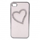 Love Heart Pattern Protective PC Back Case with Crystalfor Iphone 4 / 4S - White