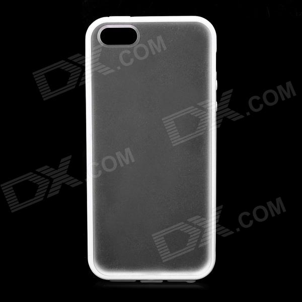 Ultra-thin Protective Plastic Back Cover Case for Iphone 5 - White + Translucent