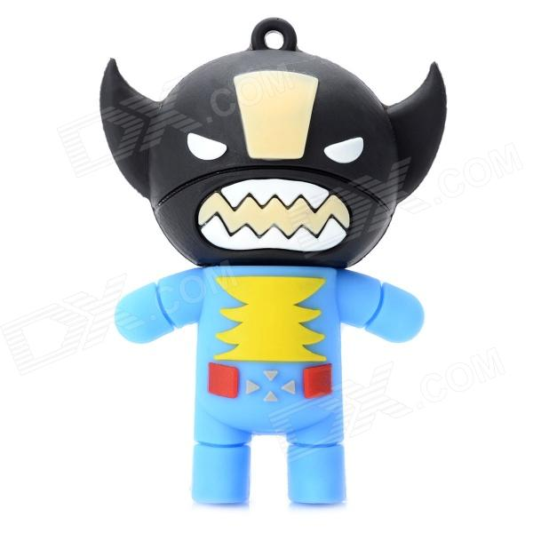 02 Cartoon Style USB 2.0 Flash Drive - Black + Blue (4GB)