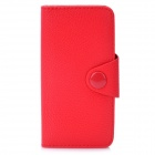 Protective PU Leather Cover Plastic Case for iPhone 5 - Red