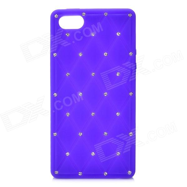 Check Pattern Protective Silicone Back Cover Case w/ Rhinestone for Iphone 5 - Purple protective silicone soft back case cover for iphone 5 white
