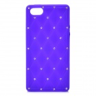 Check Pattern Protective Silicone Back Cover Case w/ Rhinestone for Iphone 5 - Purple