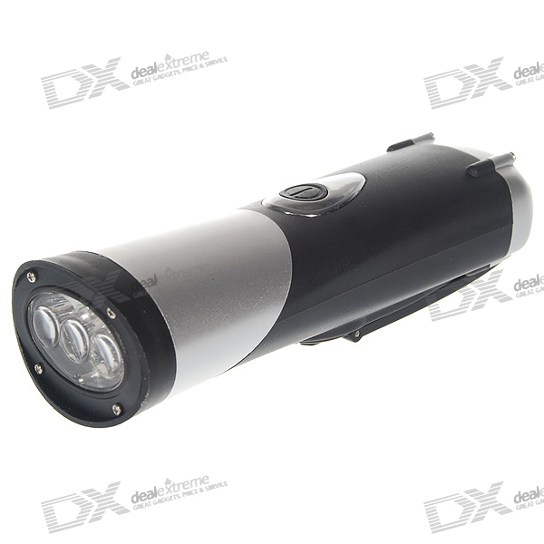 Head-Twistable Dynamo Hand-Cranked Battery-Free 3-LED 3-Mode Flashlight