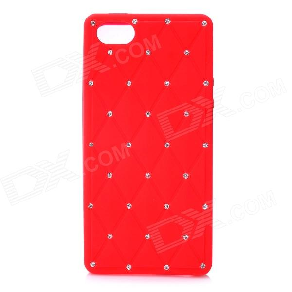 Check Pattern Protective Silicone Back Cover Case w/ Rhinestone for Iphone 5 - Red protective silicone soft back case cover for iphone 5 white