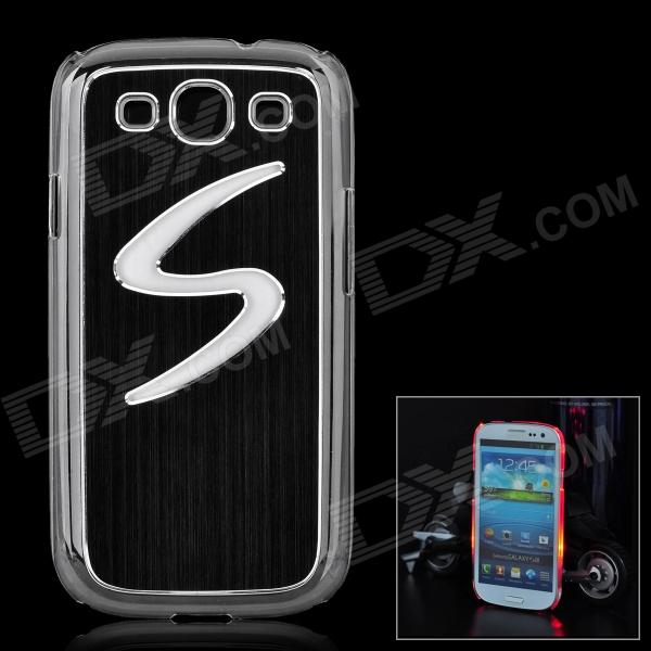 S Pattern Protective Case w/ Caller Signal Flashing LED for Samsung i9300 - Black (1 x CR2016)
