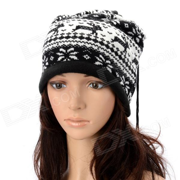 Multi-Function Deer Pattern Cashmere Warm Keep Hat Scarf - Black + White