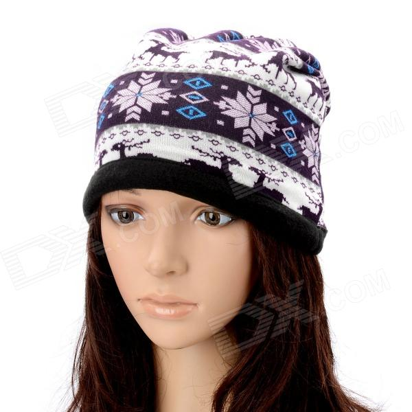 Multi-Function Deer Pattern Cashmere Warm Keep Hat Scarf - Purple + White