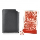 Paper Cut Guan Yu Pattern Stainless Steel Cosmetic Mirror w/ Case - Red (8.5cm x 5.3cm)