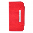2450mAh External Backup Battery Charger w/ Protective PU Leather Cover Case for iPhone 4 / 4S - Red
