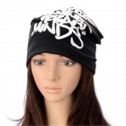 Winter Letters Pattern Unisex Weave Cotton Headgear Hat - Black + White