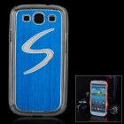 S Pattern Protective Case w/ Caller Signal Flashing LED for Samsung i9300 - Blue (1 x CR2016)