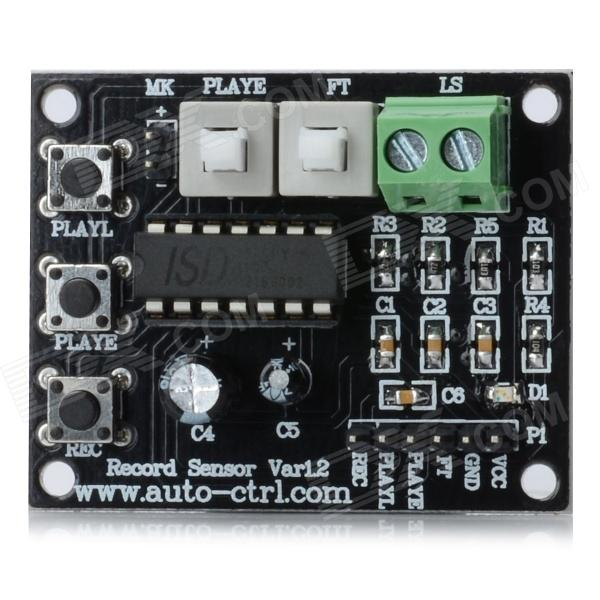 ISD1820 Audio Record Playback Module - BlackOther Accessories<br>Color: Black - Quantity: 1 - Material: FR4 - Main chip: ISD1820 - Working voltage: DC 3~5V - Convenient to record and play the voice within 10 seconds - High quality natural audio recording - Can be used for loudspeaker module - With loop A-B playback single-pass playing function - Controlled by microcontroller - Great for DIY project<br>