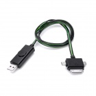 3-in-1 USB bis 30-Pin / Mini USB / Micro USB Charging Cable w / Visible Light - Black (80cm)