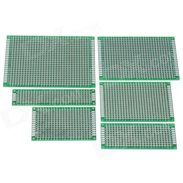 6-in-1 Double-Sided PCB Prototype Boards Set - Green 6 in 1 double sided pcb prototype boards set green