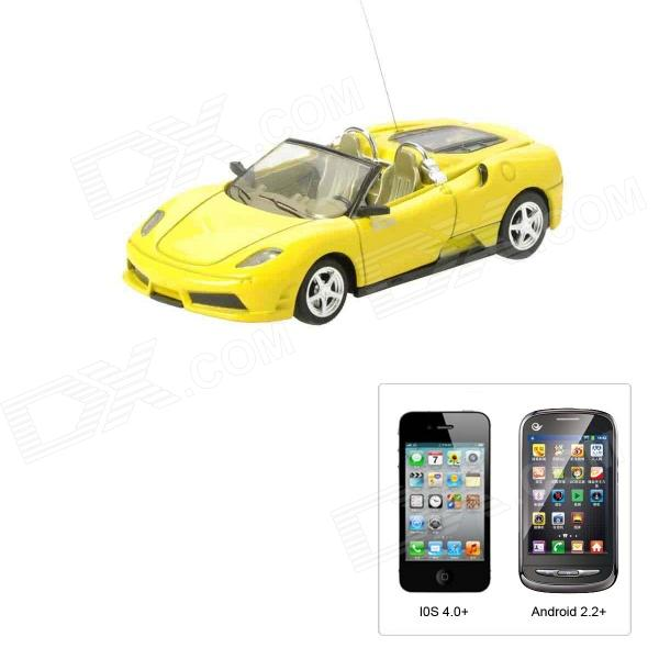 1:43 Porsche Style 4-CH Iphone & Android Remote Controlled R/C Car - Yellow (1 x 1100mAh Battery) 9099 20e r c 4 channel ir controlled wall climber vehicle model toy yellow blue black