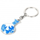 Phoenix on Blue and White Porcelain Style Keychain