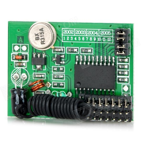 MTDZ002 RF Wireless Transmission Module - GreenDIY Parts &amp; Components<br>Model: MTDZ002 - Quantity: 1 - Color: Green - Material: PCB + plastic - Working voltage: DC 3V~12V - Working current: Max. 8mA (12V) Min. 2mA (3V) - Resonant method: SAW - Modulation method: ASK / OOK - Working frequency: 315MHz - Frequency accuracy: +/- 75kHz - Transmission power: 20mW (315MHz 12V) - Transmission rate: - Built-in code - Antenna length: 28cm (315MHz) 24cm (433.92MHz) - Widely used in wireless remote control home appliances smart toys etc<br>