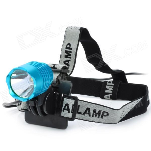 600lm 3-Mode White Light Headlamp / Bicycle Light - Blue (4 x 18650) 600lm 3 mode white bicycle headlamp w cree xm l t6 black silver 4 x 18650